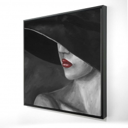 Framed 24 x 24 - 3D - Mysterious woman with a hat