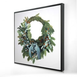Framed 24 x 24 - 3D - Christmas wreath
