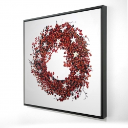 Framed 24 x 24 - 3D - Red berry wreath