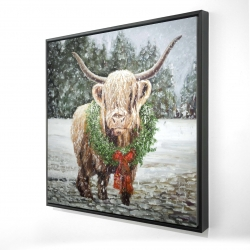 Framed 24 x 24 - 3D - Highland christmas cow
