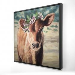Framed 24 x 24 - 3D - Cute jersey cow