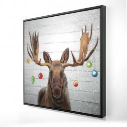 Framed 24 x 24 - 3D - Moose has christmas balls