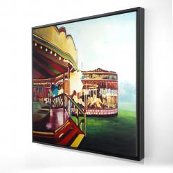 Framed 24 x 24 - 3D - Carousel in a carnaval