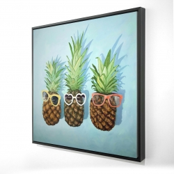 Framed 36 x 36 - 3D - Summer pineapples