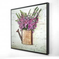 Framed 24 x 24 - 3D - Purple foxglove flowers