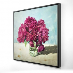 Framed 24 x 24 - 3D - Fuchsia peony