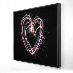 Framed 24 x 24 - 3D - Red & blue fireworks heart