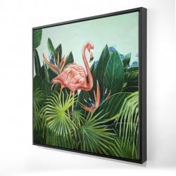 Framed 24 x 24 - 3D - Tropical flamingo