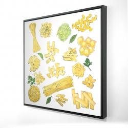 Framed 24 x 24 - 3D - Various kind of pasta