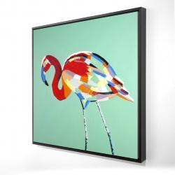 Framed 24 x 24 - 3D - Multicolored flamingo