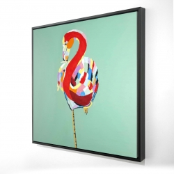 Framed 24 x 24 - 3D - Colorful abstract flamingo