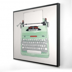 Framed 24 x 24 - 3D - Mint typewriter