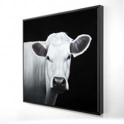 Framed 24 x 24 - 3D - White cow