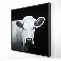 Framed 24 x 24 - 3D - White cow