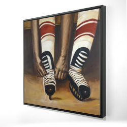 Framed 24 x 24 - 3D - Hockey player ties his skates
