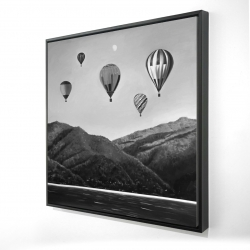 Framed 36 x 36 - 3D - Air balloon landscape