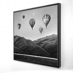 Framed 24 x 24 - 3D - Air balloon landscape