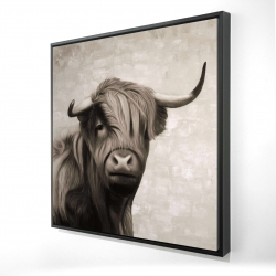 Framed 24 x 24 - 3D - Highland cattle sepia