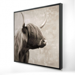 Framed 24 x 24 - 3D - Beautiful highland cattle sepia