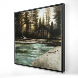 Framed 24 x 24 - 3D - Cabin in the forest