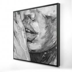 Framed 24 x 24 - 3D - Luscious lips
