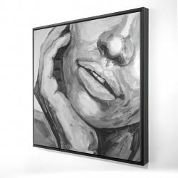 Framed 24 x 24 - 3D - Irresistible lips