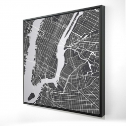 Framed 24 x 24 - 3D - New york graphic map