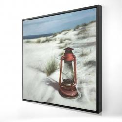Framed 24 x 24 - 3D - Lantern on the beach