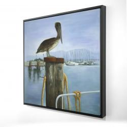 Framed 24 x 24 - 3D - Pelican