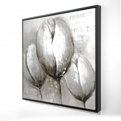 Framed 24 x 24 - 3D - Three white tulips