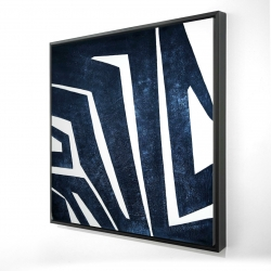 Framed 24 x 24 - 3D - Blue labyrinth