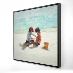 Framed 24 x 24 - 3D - Little girls at the beach