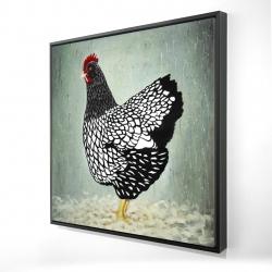 Framed 24 x 24 - 3D - Wyandotte  hen
