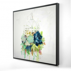 Framed 24 x 24 - 3D - Bird cage with cactus