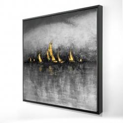 Framed 24 x 24 - 3D - Gold sailboats
