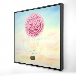 Framed 36 x 36 - 3D - Hot air balloon hydrangea flowers