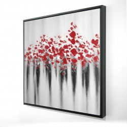 Framed 24 x 24 - 3D - Little peas red