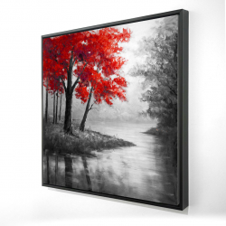 Framed 24 x 24 - 3D - Red trees and lake