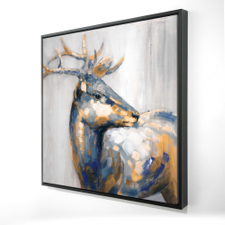 Framed 24 x 24 - 3D - Golden deer
