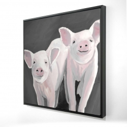 Framed 24 x 24 - 3D - Two little piglets
