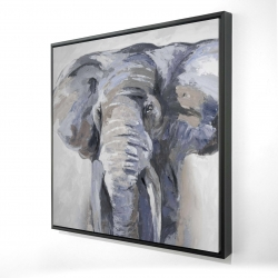 Framed 24 x 24 - 3D - Pastel blue elephant