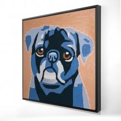 Framed 24 x 24 - 3D - Flash the pug