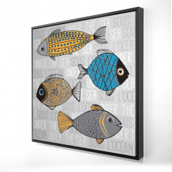 Framed 24 x 24 - 3D - Fishes' illustration