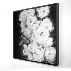 Framed 36 x 36 - 3D - Monochrome rose garden