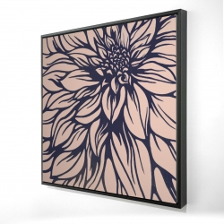 Framed 24 x 24 - 3D - Dahlia flower