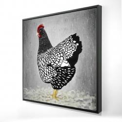 Framed 24 x 24 - 3D - Black and white wyandotte hen