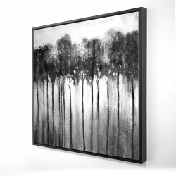 Framed 24 x 24 - 3D - Abstract forest black and white