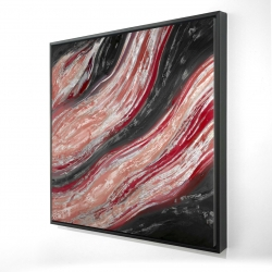Framed 24 x 24 - 3D - Red wave