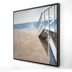 Framed 24 x 24 - 3D - Soft seaside landscape