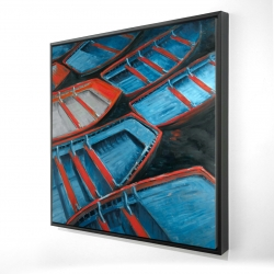 Framed 24 x 24 - 3D - Small blue and red canoes